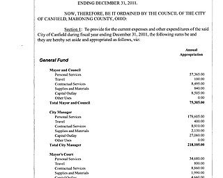 Ordinance 2011-06 Annual Appropriations