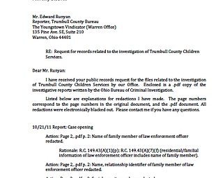 Trumbull County Children Services response letter