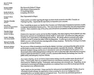 Ohio Turnpike Response to Hagan