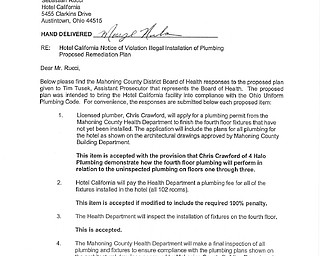 Hotel California - Proposed Remediation Plan
