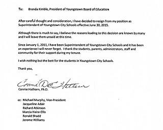Connie Hathorn Resignation