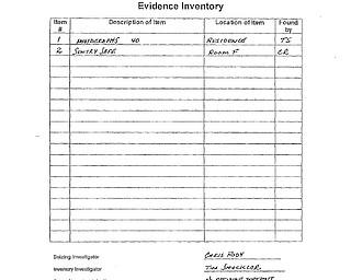 Bozanich, Garea Evidence Inventory