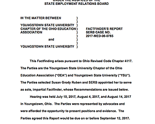 Preliminary copy of YSU fact finder's amended report