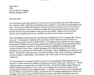Sherrod Brown letter to GM CEO