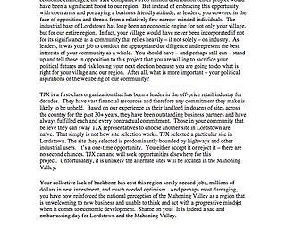 Anthony Cafaro Jr. Letter