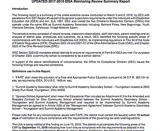 Summit Academy Secondary Monitoring Review Summary Report