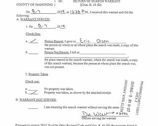 Olsen Search Warrant Returns