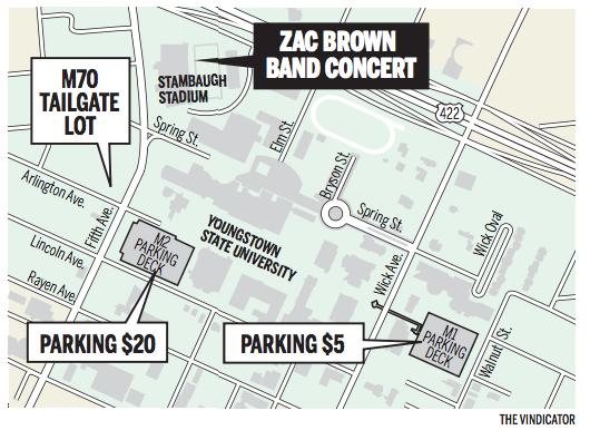 Zac Brown fans advised to use parking decks at YSU | vindy.com on