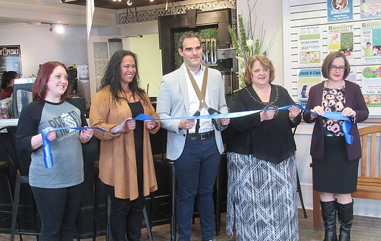 Pressed Coffee Bar and Eatery host ribbon cutting ceremony at Poland library