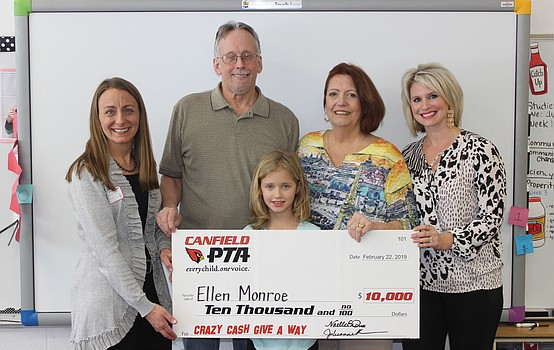 Ellen Monroe wins Canfield PTA's Crazy Cash Giveaway