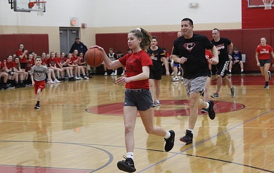 CVMS students battle staff on the court
