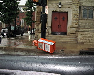 Vindicator Box pushed over by severe weather.