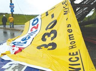 Winds knocked down billboard on U.S. 422 at I-680.