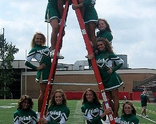 The Ursuline Cheerleaders are stacked up and ready to cheer on the Irish!
