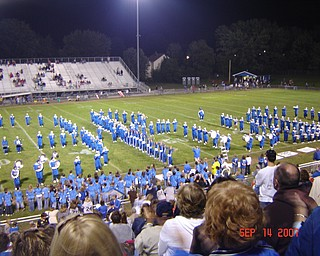 Here is Hubbard's Band completing the Script Ohio in the Sept. 14th game vs . LaBrae