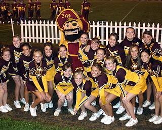 """""""South Range Cheerleaders hang out with the Raiders mascot."""""""