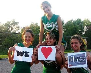 Ursuline Cheerleaders: JoAnne Tombo, Nina Balone, Ashley Williams, Annie Morris