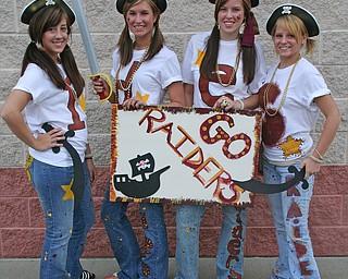 Renee Fusco, Sarah Pavlansky, Sandra Levitsky, and Hannah Grantz show their Raider Pride!