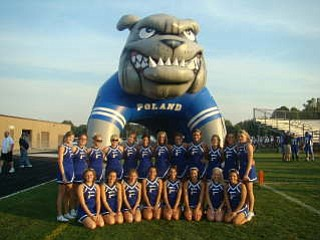 Poland Varsity and JV cheerleaders pose in front on the Bulldog tunnel--the only one in the area, before their Game against East Liverpool.