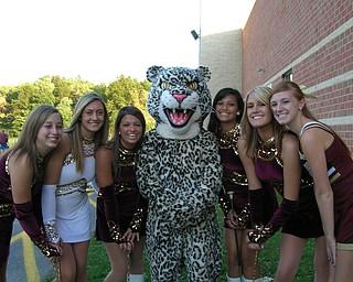 Love Those Leopards!  Liberty majorettes, Jessica Dravis, Amanda Nacarato (Captain), Allison Armeni, mascot Cody Smith, Kay Raib, Leeann Hartill, and Melissa Sobnosky show their pride.