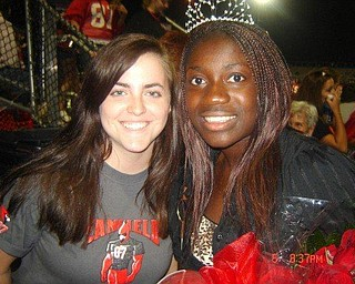 Alyssa Uhl and Audra Frimpong (queen) at the Canfield/Campbell Football game