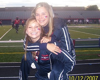 Fitch Sophomore Cheerleaders. Emily Kinnick and Maggie Calhoun