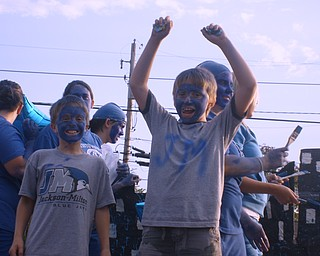Marty McKinney & Clayton Maskerenic  showing their Blue Jay Spirit during the  Jackson-Milton homecoming parade.
