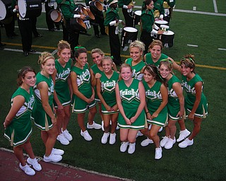 Ursuline Cheerleaders are ready for the game to begin.