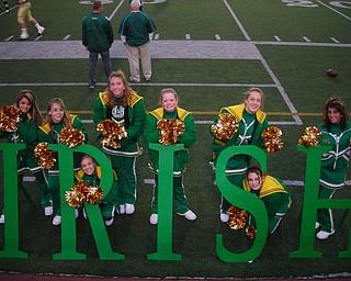 These UHS Cheerleaders spell out I-R-I-S-H, Nina Ballone, Lauren Anderson, Ashley Williams (bottom), Allison Naples, Kayla Spear, Caitlyn Robertson, Diandra Lazor (bottom) and Cara Mia Gatti.