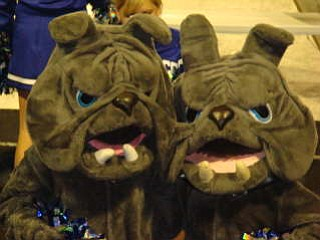 Poland High Schools Bulldog Mascots cheer on their team during the Poland/Campbell game. Poland won 27-7.