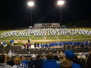 Poland High School Band's 260 plus members perform at half time of the Poland/Campbell Game. The Bulldogs won 27-7.
