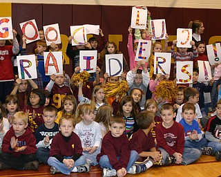 """Mrs. Belcastro's 2nd grade class wishes the Raider football team good