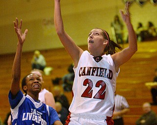 Canfield's Bryanne Halfhill scores 1,000th point.