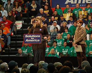 Youngstown City Schools student Ammie-Marie Roxanne Littke at Tuesday's Clinton rally