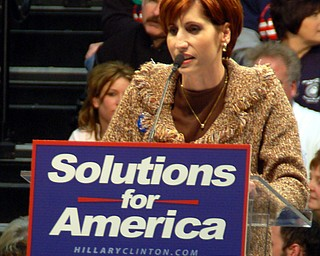 Youngstown City Schools Board of Education president Shelley Murray at Tuesday's Clinton rally at Chaney High School