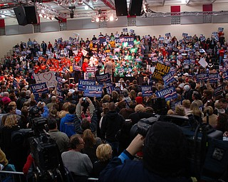 Crowd at Tuesday's Clinton rally at Chaney