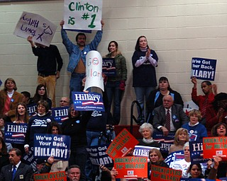 A portion of the crowd at Chaney High School, site of Tuesday's Clinton rally