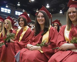 L-R, Salutatorian Anastacia Bollinger, Jen Zdealar, Gina Martire, Valedictorian Pamela Galioto and Leanna Bodnar await their diplomas.