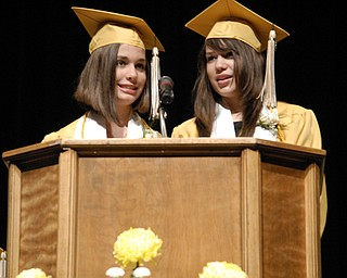 Valedictorian Maureen Sweet, left, and Salutatorian Kristen Placer broke over a century of Warren G. Harding High School commencement tradition by delivering a shared speech.
