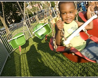 Marcus Davies, 9, on the motorized swing.
