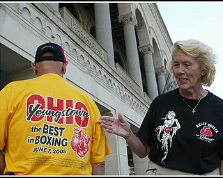 Gary and Ruth Nilsson of Austintown outside Boardwalk Hall in Atlantic City waiting for start of the Pavlik fight Saturday. They came to Atlantic City on a bus trip with a large group of fans from the Mahoning Valley. This was Gary's gift to Ruth for her 60 th birthday which was Thursday.