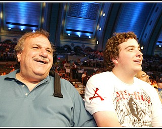Howard Mancini and his son Nicholas of Canfield take in the Pavlik fight in Atlantic City.