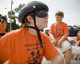 Joe Puntel, 14, of Austintown in his aerodynamic race goggles.