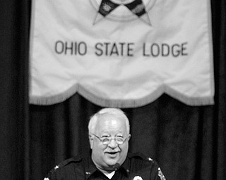 Boardman Police Chief Patrick Beraducci welcomes the group to Boardman -State FOP convention held at Mr Anthonys in Boardman.