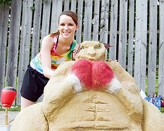 Lacy Cameron, 22, of Austintown dedicated her fighting kangaroo to Kelly Pavlik at the sand sculpture contest in the Wick Recreation Area at Mill Creek Park on Sunday, July 27, 2008. Cameron's creation took second place overall earning her a $75.00 reward. Daniel C. Britt.