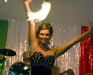 Ciara Ciccolelli twirled a fiery baton for the talent segment. Friday, August 1, 2008. Daniel C. Britt.