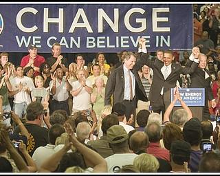 8.5.2008 Sherrod Brown, Barack Obama, and Gov. Ted Strickland at Austintown Fitch High School.