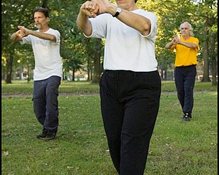 7.31.2008 (Left-Right) Ed Istnick Jr., Marie Lew, and Ed Hallahan, all residents of the North Side, practice Tai Chi in Wick Park.