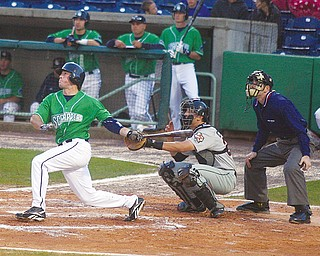 LONG GONE: Donnie Webb of the Mahoning Valley Scrappers hits a solo home run in the second inning of Sunday's game against the Tri-City ValleyCats at Eastwood Field.
