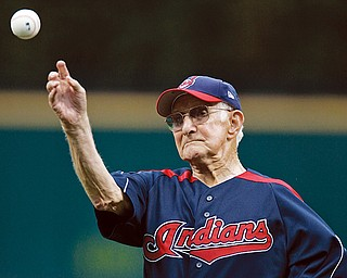 VALLEY STAR: Earl Smith, 1100, of North Jackson throws out the ceremonial pitch before the INdiands game against the Baltimore Orioles in Cleveland. The Tribe lost, 6-1, Wedesnday.